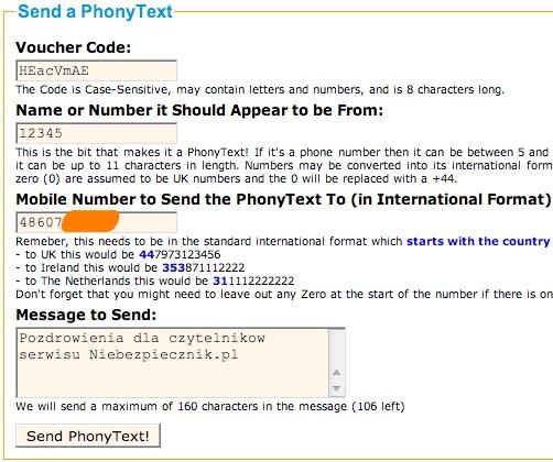 Bramka służąca do fałszowania numeru nadawcy SMS-a