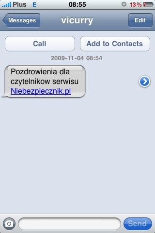 Podgląd fałszywego SMS-a