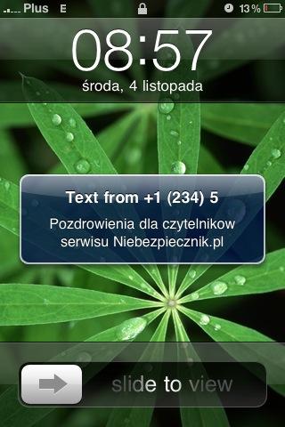 Fałszywy SMS z numeru 12345