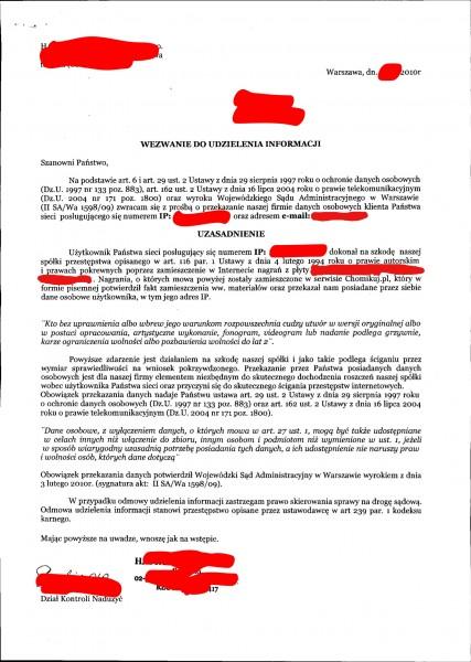 Pismo od kancelarii prawnej