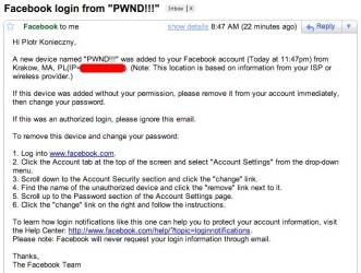 Facebook - bezpieczeństwo - mail