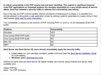 Zend critical vulnerability PHP