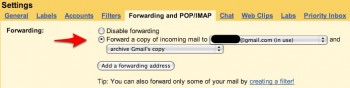 GMail forwarding settings
