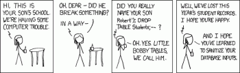 SQL injection xkcd