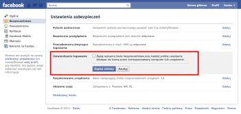 Podwójne uwierzytelnienie w Facebook