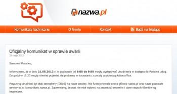 Nazwa.pl - atak DDoS