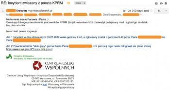 E-mail włamywacza do pracowników KPRM i CUW