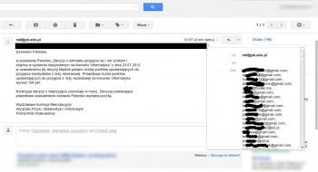 E-maile niedoszłych studentów Politechniki Krakowskiej