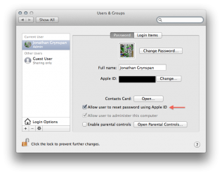 Mountain Lion Apple ID reset