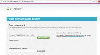 T-Mobile password reset