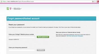 T-Mobile password reset
