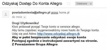 Allegro - fałszywy e-mail