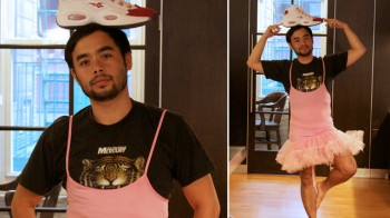 here-is-a-picture-of-a-gawker-writer-wearing-a-tutu-with-a-shoe-on-his-head