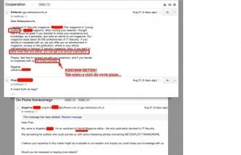 Przykład spamu od Hakin9. Wielokrotne wiadomości w ciągu jednego dnia z różnych kont-osób