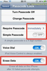 iOS passcode settings