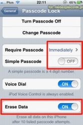 iOS passcode settings