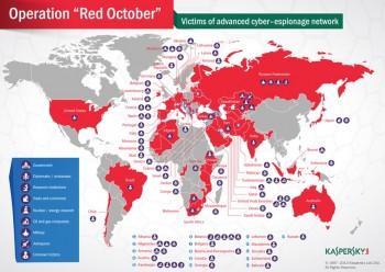 Kraje dotknięte przez Red October