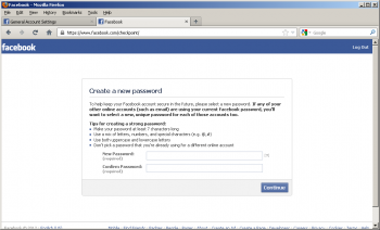 Formularz resetu hasła na Facebooku