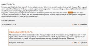 Komentarz na blogu Orange