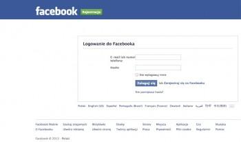 Facebook - sklonowana strona logowania
