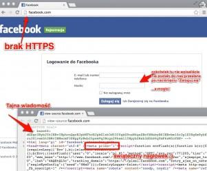 Nasza fałszywa strona logowania się do Faceboka