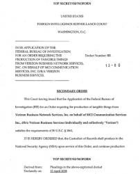 Nakaz sądu dla Verizon żądający ujawnienia danych dot. abonentów i prowadzonych przez nich rozmów