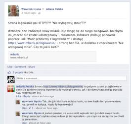 Fanpage mBanku  na Facebooku i posty użytkowników
