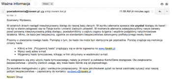 Novem - e-mail informujący klientów o włamaniu