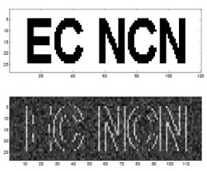 Tworzenie liter przy użyciu drukarki laserowej - jaśniejsze punkty to włączenie-wyłączenie lasera rysującego puste pixele