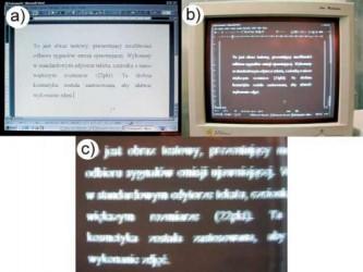 Analiza ulotu elektromagnetycznego w akcji. a) oryginalny ekran b) ekran na urządzeniu przechwytującym c) powiększenie b)