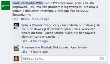 Rozmowa z BZWBK na Facebooku