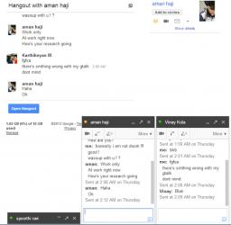 Wiadomośći trafiające do innych osób -- screenshot jednej z ofiar błędu w chacie Google