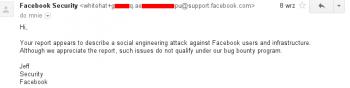 Odpowiedź działu bezpieczeństwa Facebooka