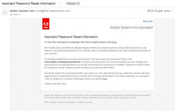 Komunikat Adobe wysyłany do klientów