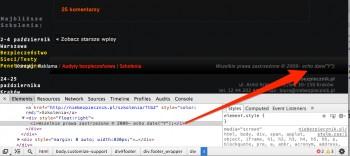 """Ten sam kod źródłowy, widziany przez Developer Tools (inspektor DOM) nie pokazuje antrybutu """"hint"""" z eastereggową podpowiedzią"""