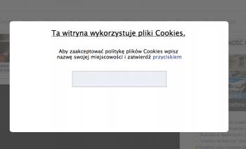 """Wyłuczanie nazwy miasta przez potwierdzenie """"cookies"""" - widok bez ukrytej warstwy"""