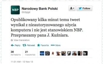 NBP przeprasza na Twitterze