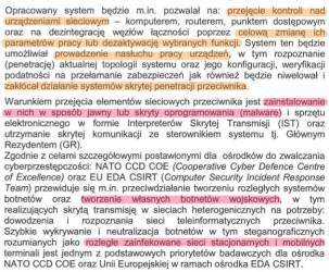 Opis funkcji wojskowego botnetu