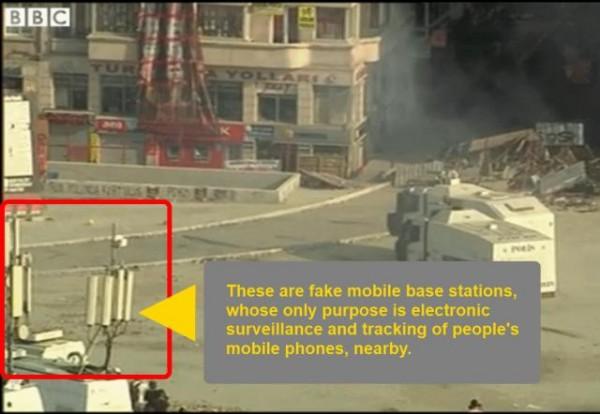 Mobilny BTS służący do przechwytywania sygnału z okolicznych telefonów komórkowych w trakcie zamieszek.