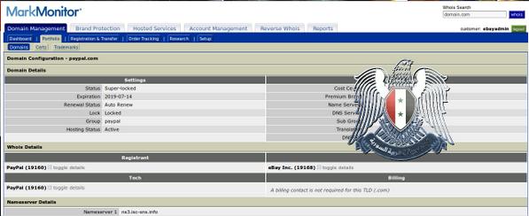 Opublokowany przez SEA screenshot ukazujący dostęp do panelu zarządzania domeną eBay'a