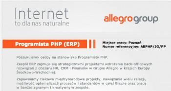 Ogłoszenie o pracę w Allegro