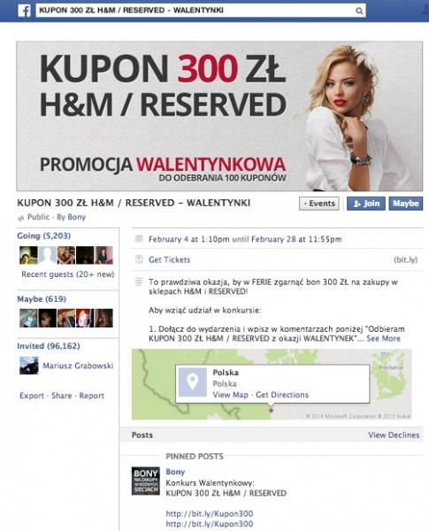 Widok strony na Facebooku poświęcony konkursowi