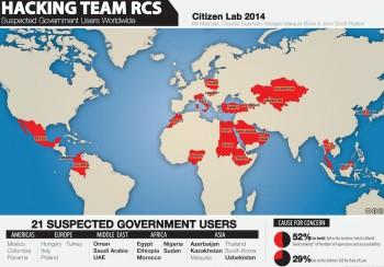 Mapa krajów, które są podejrzane o korzystanie ze spyware'u