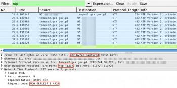 Wynik odpytania serwera NTP komendą monlist