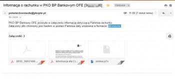 E-mail od PKO BP z załącznikiem szyfrowanym datą urodzenia