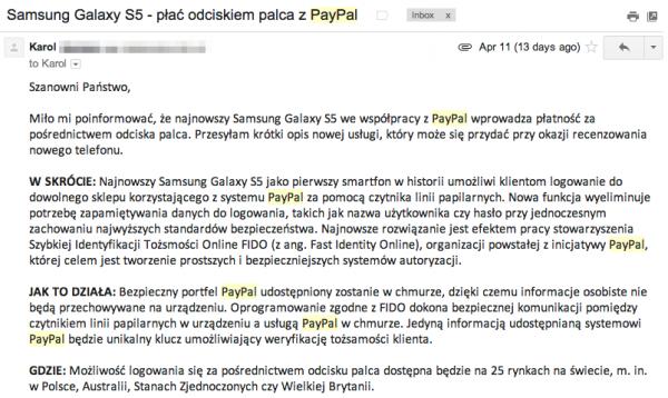 PayPal reklamuje bezpieczne płatności przy pomocy ...Samsung Galaxy S5