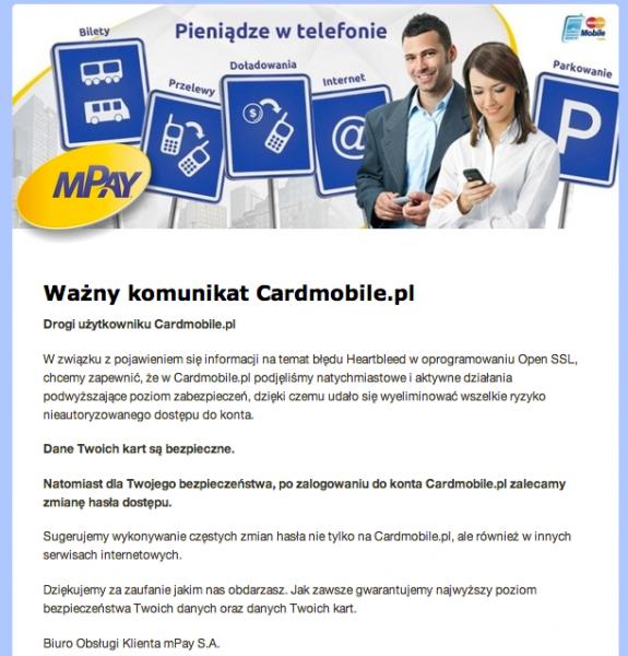 Komunikat mPay i Cardmobile w sprawie ataku Heartbleed