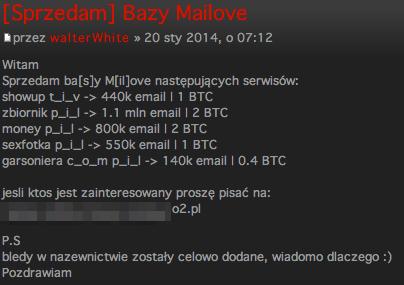Oferta sprzedaży baz e-mail serwisów erotycznych z Polski