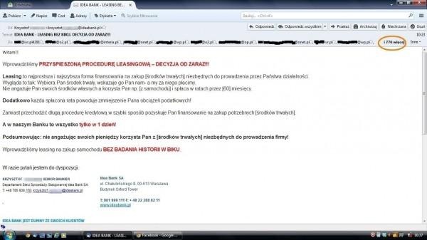 Idea Bank i e-mail z adresami w nagłówku TO: zamiast BCC: (dane czytelnika, który podesłał poniższy zrzut ekranu pozostają do wiadomości redakcji)