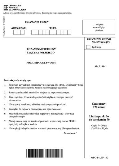 Pierwsza strona rzekomego arkusza maturalnego na rok 2014 z języka polskiego